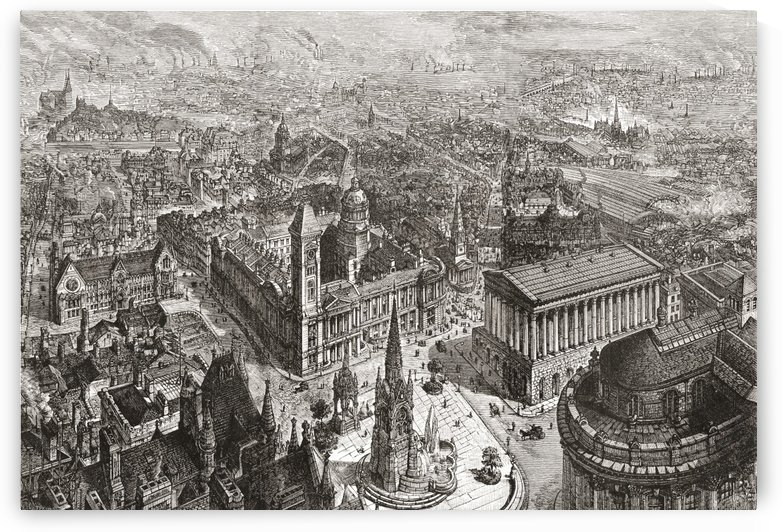 General view of Birmingham, West Midlands, England in the 19th century showing the Council House, Town Hall and Chamberlain Memorial. From Cities of the World, published c.1893. by PacificStock