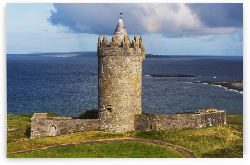 O'Brien's Tower near Doolin, with Aran Island in the background; County Clare, Ireland by PacificStock