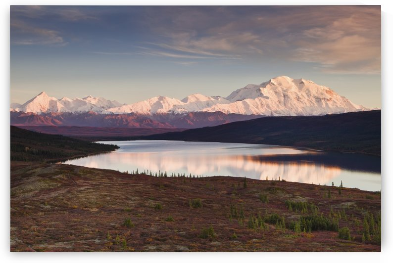 Alpenglow on Denali (Mt. McKinley) and the Alaska Range with Wonder Lake in foreground in Denali National Park and Preserve, Interior Alaska by PacificStock