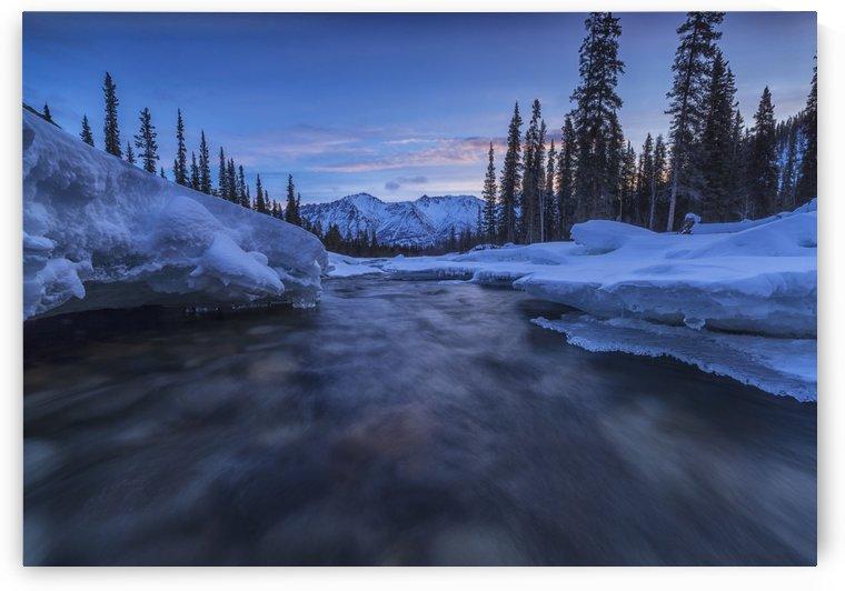 Motion blur of Wheaton River in winter; Yukon, Canada by PacificStock