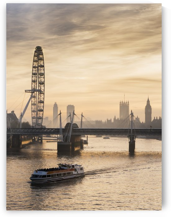 Millenium Wheel with Big Ben; London, England by PacificStock