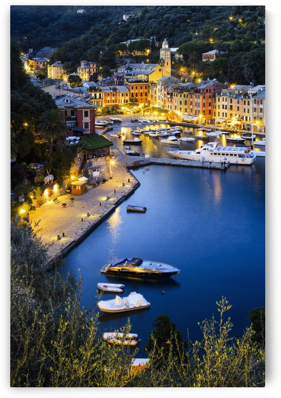 View of the harbour at dusk; Portofino, Liguria, Italy by PacificStock