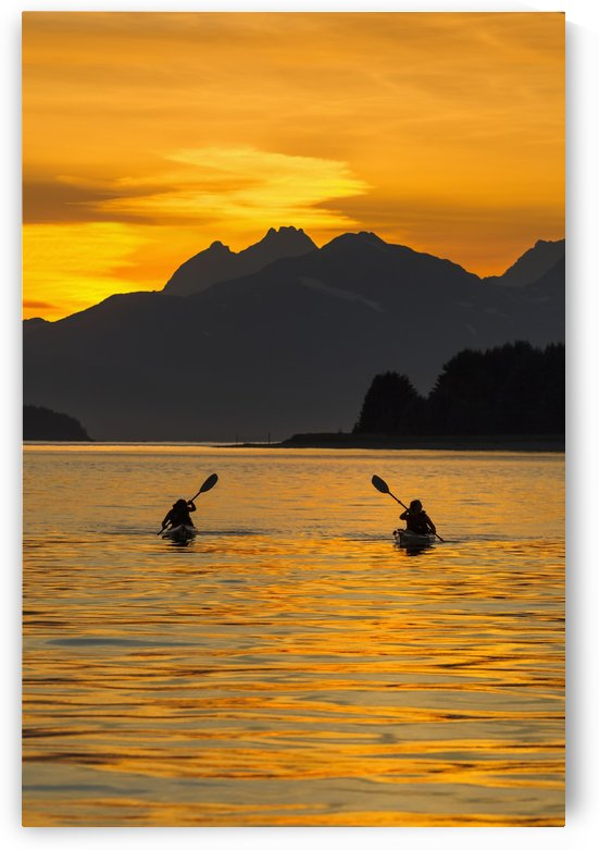 Sea Kayaking on a sublime evening in Lynn Canal near Eagle Beach State Recreation Area, Juneau. Alaska. Chilkat Mountains beyond in the distance. by PacificStock