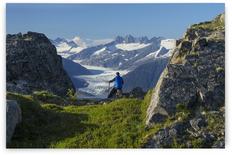 Mendenhall Glacier and the surrounding mountains provide a view for hiker on Douglas Island in Tongass National Forest, Juneau, Alaska. by PacificStock