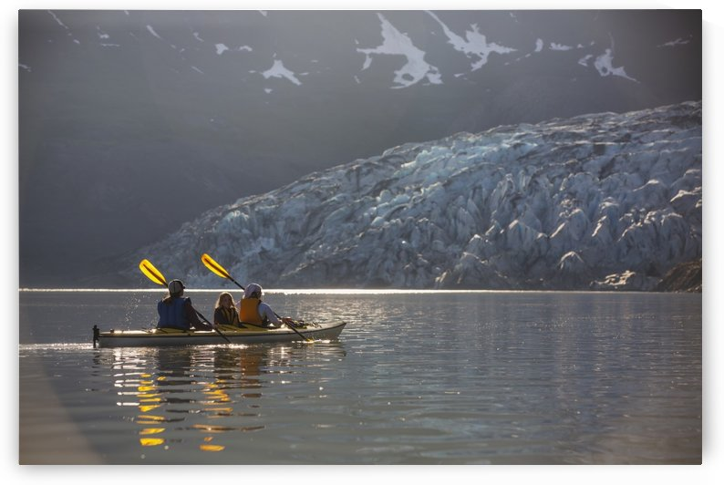 Sea kayakers paddling in evening light at Shoup Bay State Marine Park, Prince William Sound, Valdez, Southcentral Alaska by PacificStock