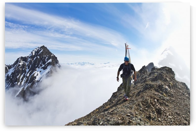 Backcountry skier on West Twin Peak near Eklutna, Western Chugach Mountains, Southcentral Alaska, Winter by PacificStock