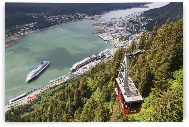 View of the Mount Roberts Tramway above Juneau and cruise ships in Gastineau Channel, Southeast Alaska, Summer by PacificStock