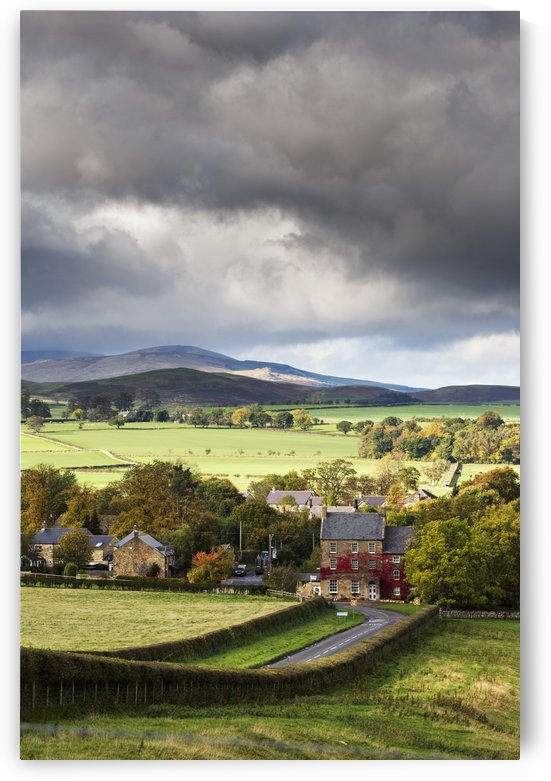 Grass fields and autumn coloured trees under storm clouds; Wittingham, Northumberland, England by PacificStock