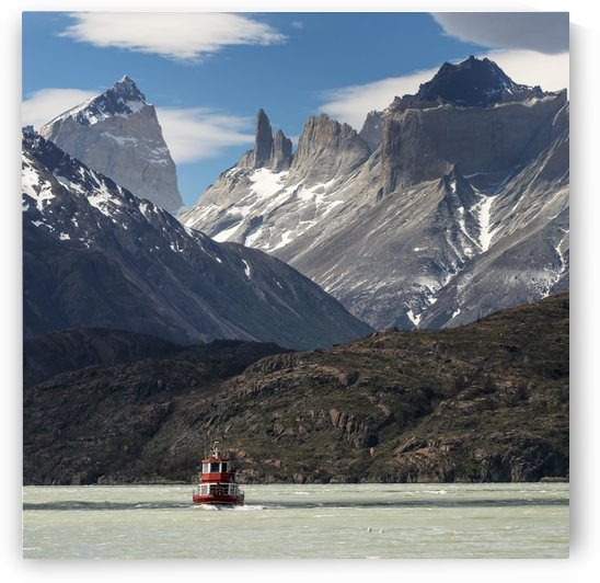 A boat on Grey Lake, Torres del Paine National Park; Torres del Paine, Magallanes and Antartica Chilena Region, Chile by PacificStock