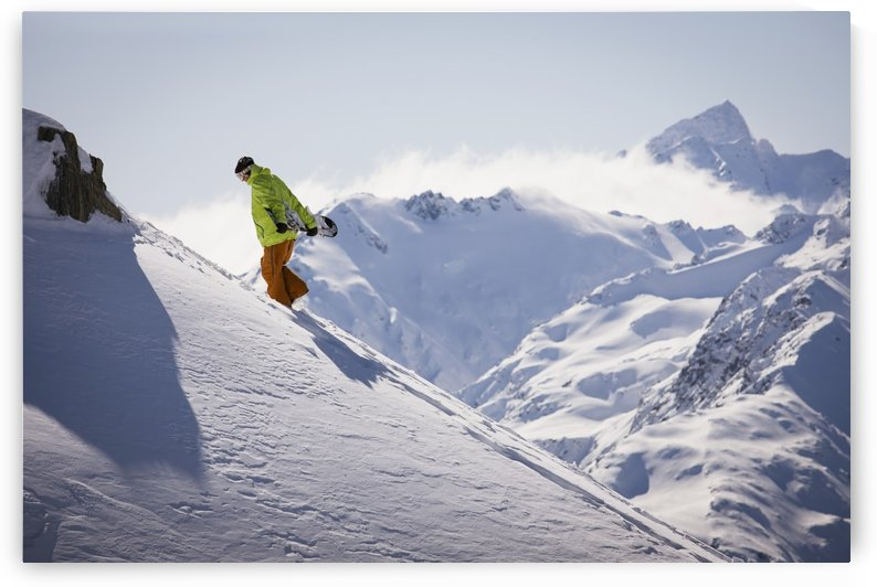 Professional snowboarder, Frederik Kalbermatten, extreme snowboarding, Methven, New Zealand by PacificStock