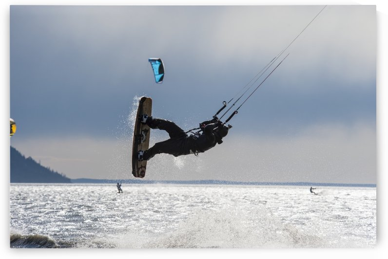 Kite boarders on Turnagain Arm in Southcentral Alaska. by PacificStock