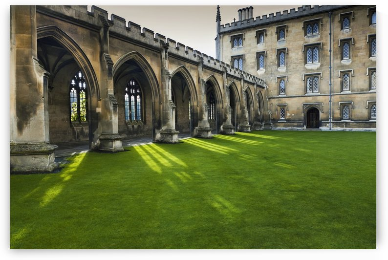 Courtyard with lush green grass; Cambridge, England by PacificStock