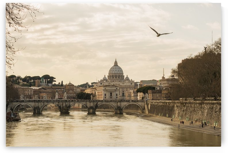 St. Peter's basilica and River Tiber; Rome, Lazio, Italy by PacificStock