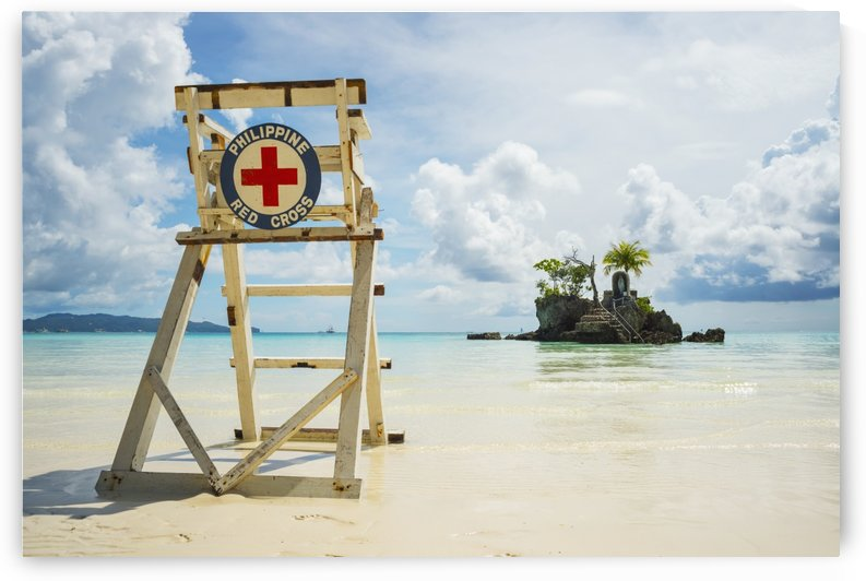Red cross lifeguarding chair on Boracay beach; Boracay, Panay, Philippines by PacificStock