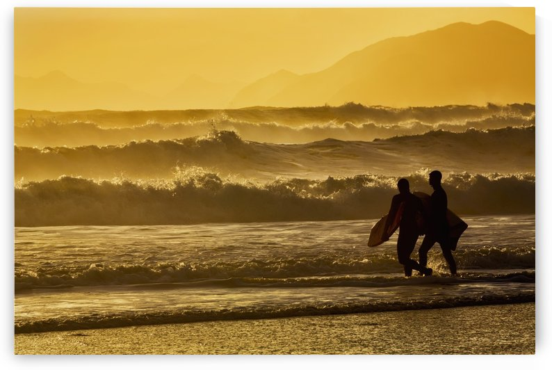 Body surfers walk in the water on the coast of Kodiak Island during late afternoon, Pasagshak State Park, Kodiak Island, Alaska by PacificStock