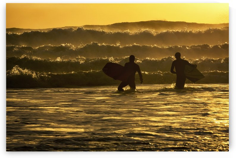 Body surfers on the coast of Kodiak Island during late afternoon, Pasagshak State Park, Kodiak Island, Alaska by PacificStock