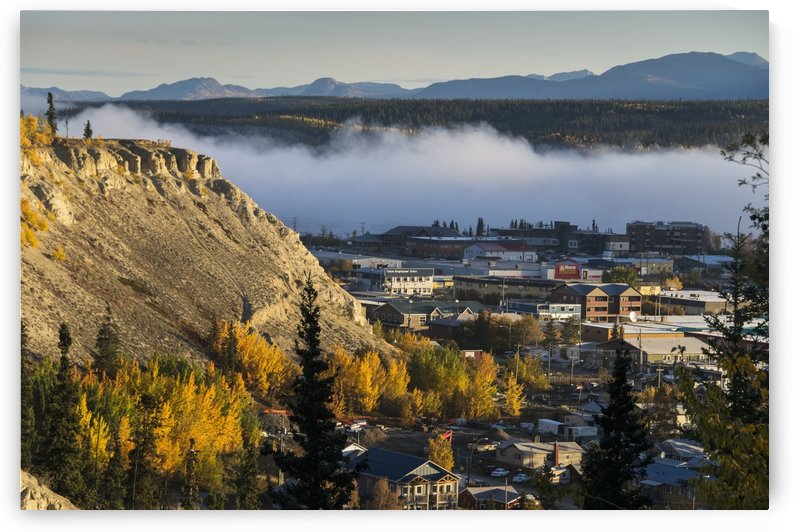 Fog hangs over the Yukon River at Whitehorse, Yukon Territory, Canada by PacificStock
