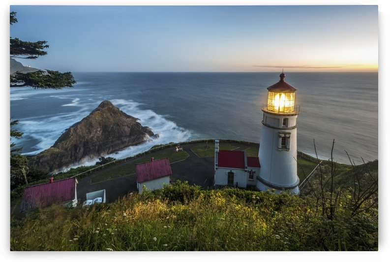 Heceta Head lighthouse at dusk; Oregon, United States of America by PacificStock