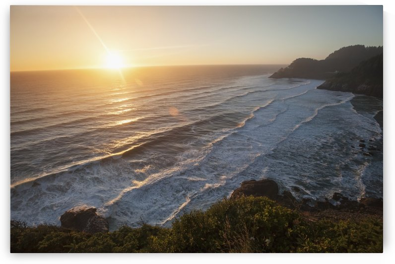 Waves lapping the coast at dusk; Oregon, United States of America by PacificStock
