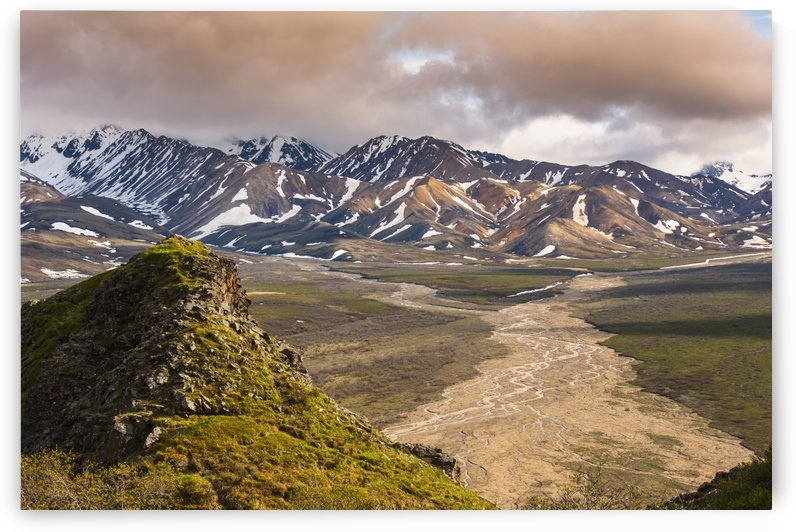 Evening scenic view of Polychrome Pass and the Plains of Murie, Denali National Park, Interior Alaska by PacificStock