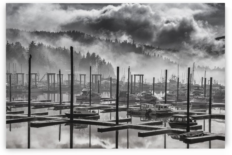 Black and White view of fog and mist lifting over Auke Bay Harbor, Juneau, Southeast Alaska by PacificStock