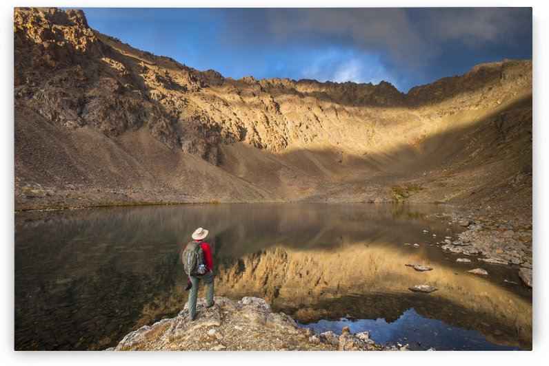Male hiker enjoying the view of Hidden Lake, Chugach State Park, Southcentral Alaska by PacificStock