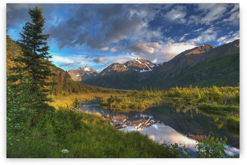 Scenic view of Eagle River Valley and Chugach Mountains at sunset, Southcentral Alaska, HDR by PacificStock