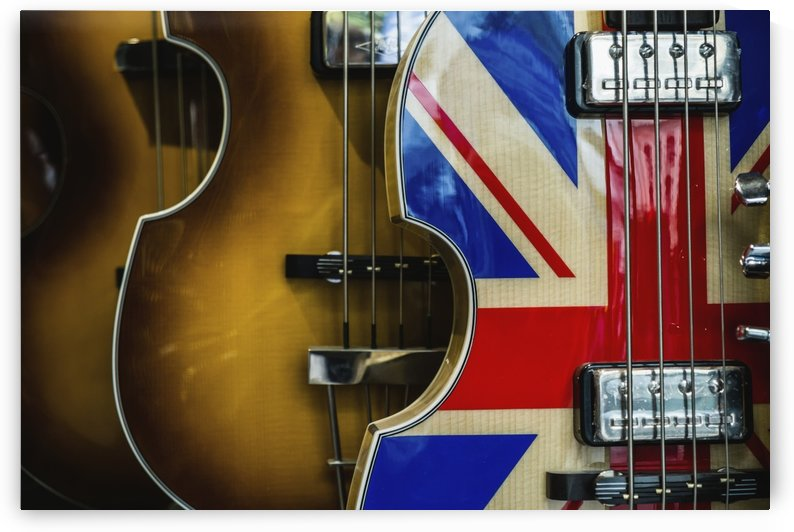 Violin with union jack pattern on surface; London, England by PacificStock