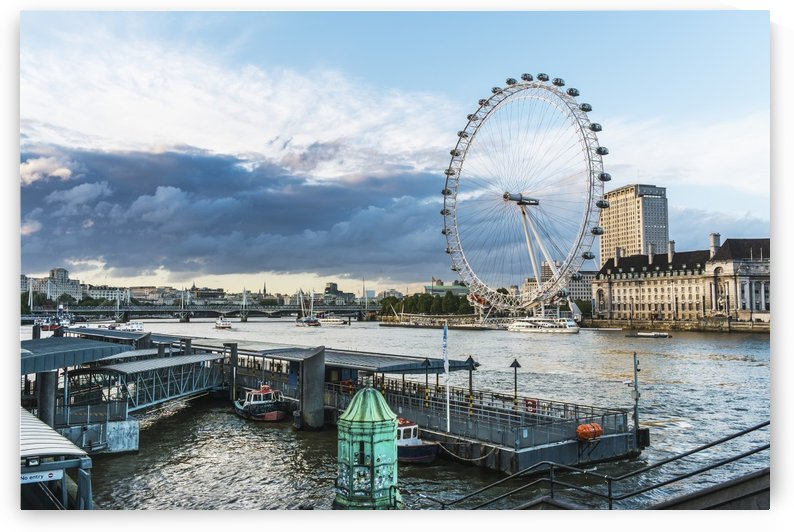 London Eye on the River Thames; London, England by PacificStock