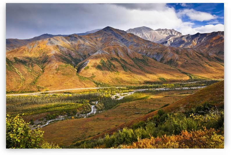 Scenic view of Brooks Range, Dietrich River and the Dalton Highway, Gates of the Arctic National Park & Preserve, Arctic Alaska, Autumn. by PacificStock