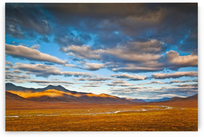Evening light on Brooks Range with the Chandalar River meandering through colorful tundra in the foreground, Gates of The Arctic National Park & Preserve, Arctic Alaska, Autumn. by PacificStock