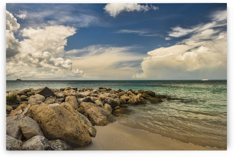 Cumulus clouds over Dickenson Bay; St. John's, Antigua, West Indies by PacificStock