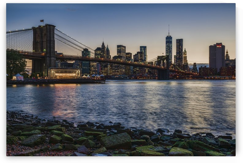 Manhattan skyline at twilight with Brooklyn Bridge, Brooklyn Bridge Park, Brooklyn; New York City, New York, United States of America by PacificStock
