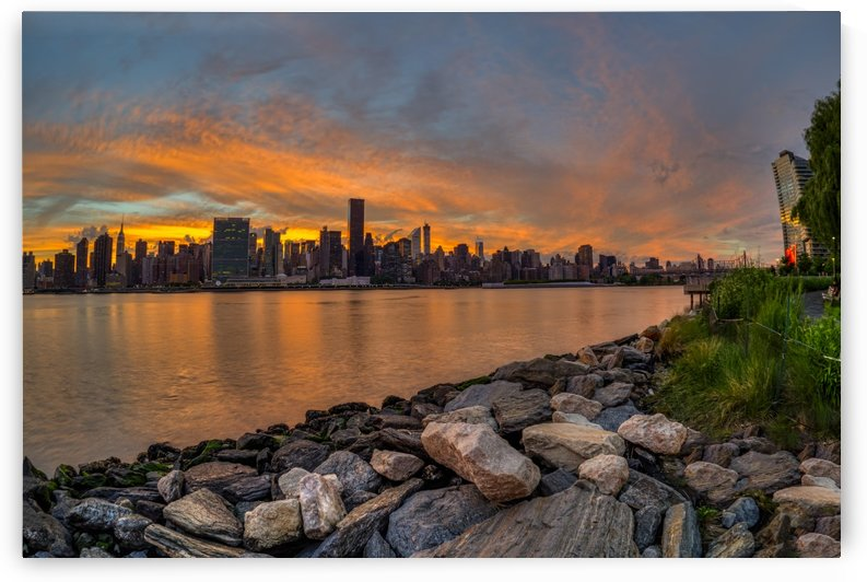 Sunset over Manhattan skyline, Gantry Plaza State Park, Queens; New York City, New York, United States of America by PacificStock