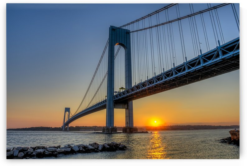 Verrazano-Narrows Bridge at sunset, Brooklyn; New York City, New York, United States of America by PacificStock