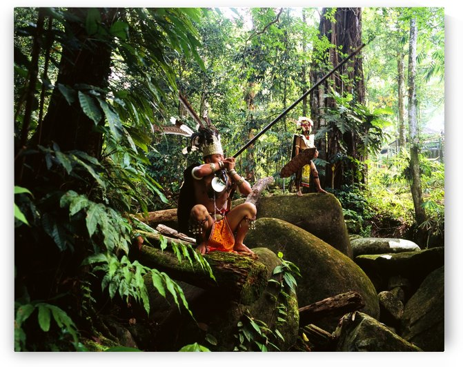 Sarawak men dressed in traditional attire with blowpipes; Sarawak by PacificStock