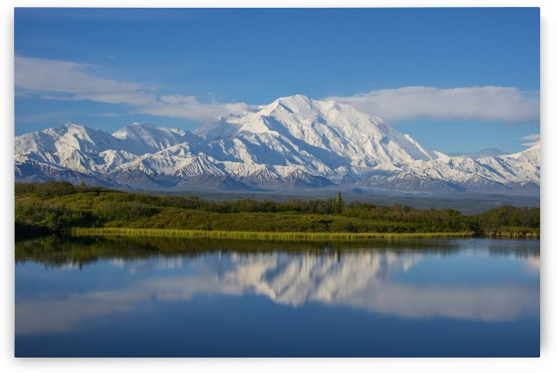 Scenic view of Mt. McKinley reflecting in Reflection Pond, Denali National Park, Interior Alaska, Spring by PacificStock