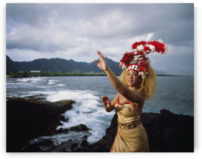 Woman wearing a traditional Samoan dress and headdress; American Samoa by PacificStock