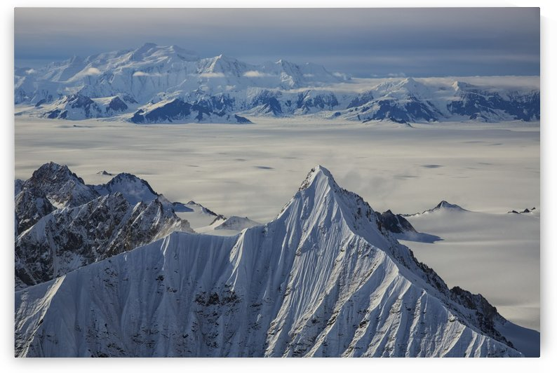 Aerial view of the mountains and icefields in Kluane National Park; Yukon, Canada by PacificStock