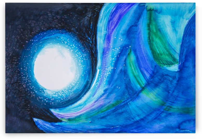 Abstract painting with blues and greens by PacificStock