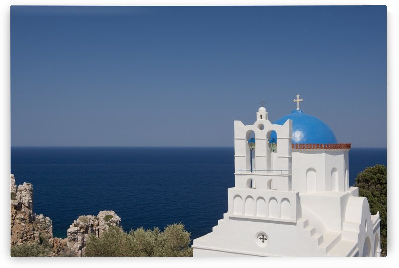 The blue domed church of Panayia Poulati; Sifnos, Cyclades, Greek Islands, Greece by PacificStock