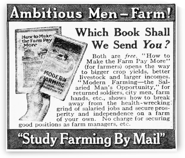 Advertisement of farming books sent by mail by American Farmers School from early 20th century. by PacificStock