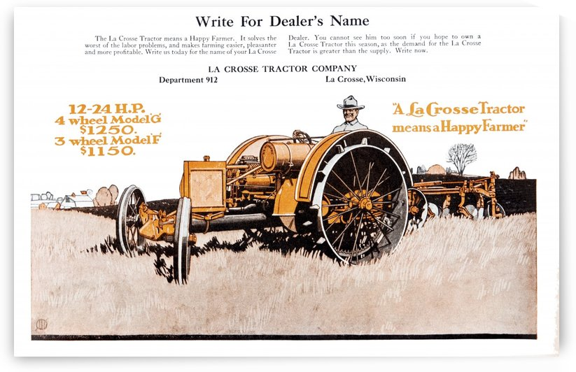 LaCrosse tractor advertisement from the early 20th century. by PacificStock