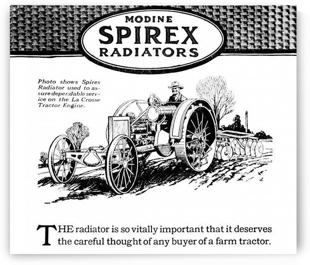 Modine Spirex Radiator advertisement with illustration of farmer on tractor from early 20th century. by PacificStock