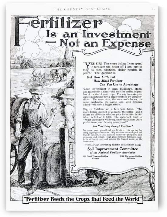Historic fertilizer advertisement from early 20th century magazine. by PacificStock