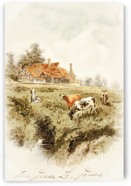 Historic greeting card with illustration of cows and people on farm from 19th century. by PacificStock