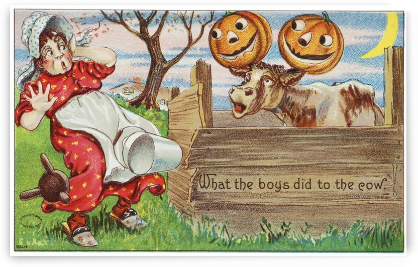 Vintage halloween greeting card with cow with jack-o-lanterns on horns from 20th century. by PacificStock