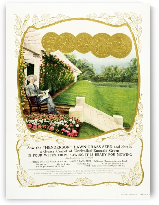 Historic Henderson lawn grass seed advertisement from 20th century. by PacificStock