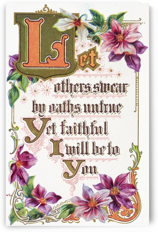 Quote from vintage greeting card with floral illustrations. by PacificStock