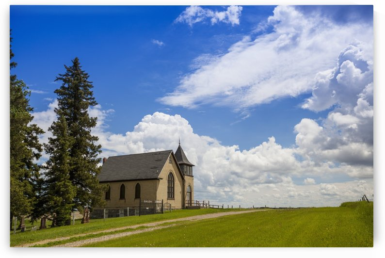 Church on a hill in a rural setting; Winnipeg, Manitoba, Canada by PacificStock